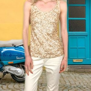 Express Women's Gold Sequined Tank Top Size XS